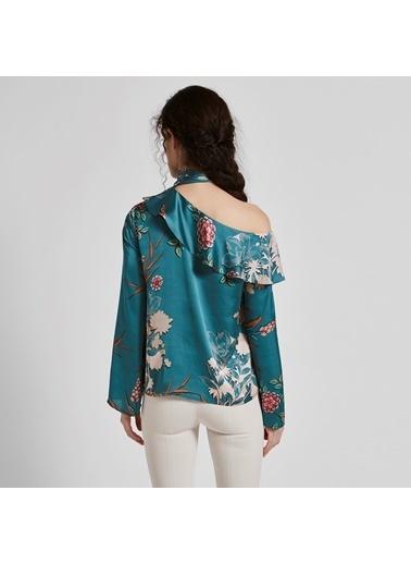 Vekem-Limited Edition Tek Omzu Açık Çiçekli Bluz Yeşil